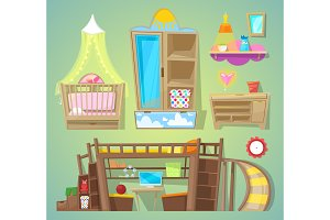 Playroom vector children furniture bed in furnished interior of babyroom illustration set of furnishings design for kids room at home isolated on background