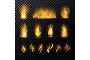 Fire flame vector fired flaming bonfire in fireplace and flammable campfire illustration fiery or flamy set with wildfire isolated on transparent background