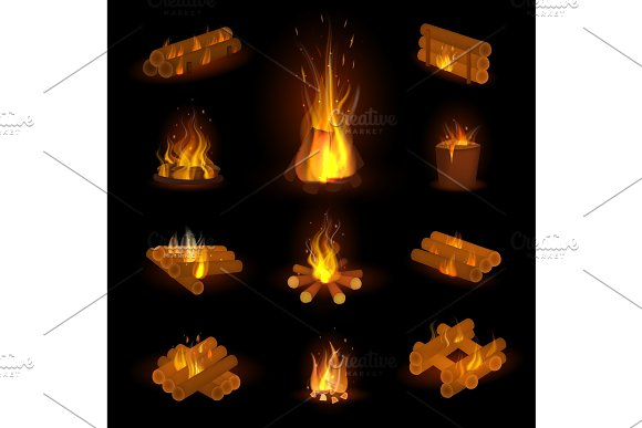 Fire Flame Or Firewood Vector Fired Flaming Bonfire In Fireplace And Flammable Campfire Illustration Fiery Or Flamy Set With Wildfire Isolated On Transparent Background