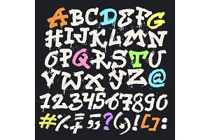 Alphabet graffity vector alphabetical font ABC by brush stroke with letters and numbers or grunge alphabetic typography illustration isolated on black background
