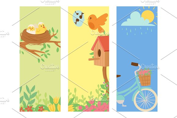 Spring Natural Floral Blossom Banner Gardening Tools Beauty Design And Nature Grass Season Branch Springtime Hand Drawn Elements Vector Illustration