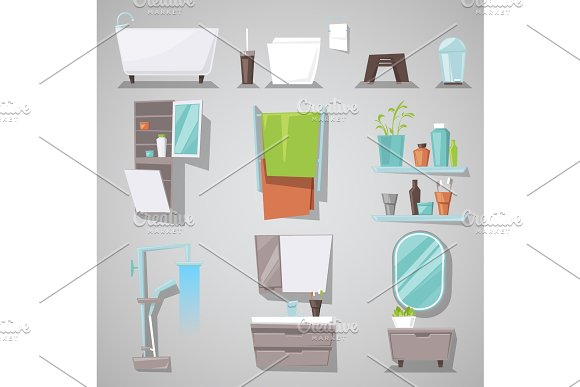 Bathroom Interior Vector Bathtub And Shower With Mirror Furniture In Bathhouse Illustration Set Of Furnished Room For Bathing And Toilet At Home Isolated On Background