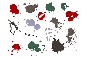 Blood splat splash spot ink stain blot patch liquid vector illustration