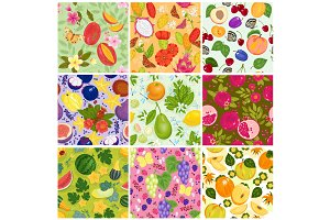 Fruit pattern seamless vector fruity backdrop and fruitful exotic wallpaper with fresh slices of watermelon apples and tropical fruits background illustration set