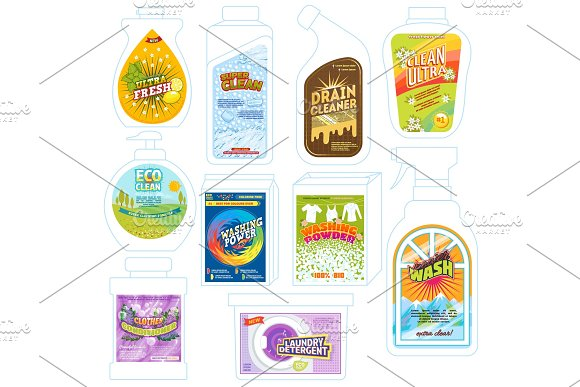 Detergent Package Vector Cleaner Washing Product Pack Template Illustration Set Of Detergency Powder Packaging To Wash Or Deterge And Cleaning Laundry Advertising Isolated On White Background
