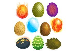Dragon eggs vector cartoon egg-shell and colorful egg-shaped easter symbol illustration set of fantasy dinosaur egghead isolated on white background