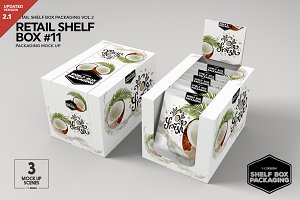 Retail Shelf Box 11 Packaging Mockup