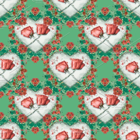 Love Ornament Motif Seamless Pattern