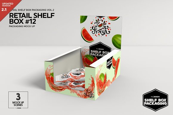 Retail Shelf Box 12 Packaging Mockup