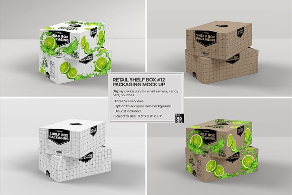 Retail Shelf Box 12 Packaging Mockup Creative Daddy
