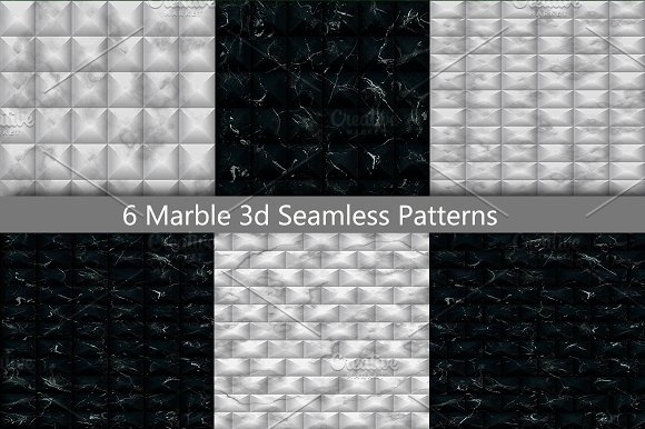 Marble 3D Seamless Pattern Set