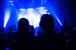 Crowd at concert and blurred stage l