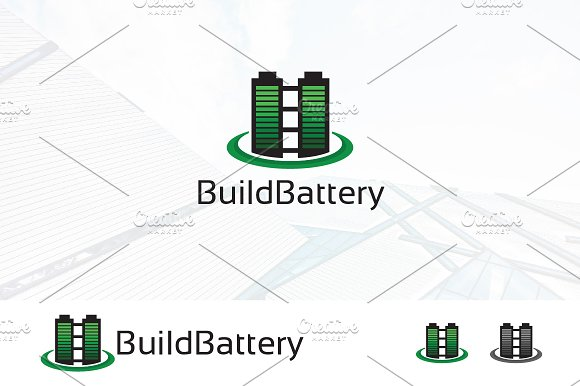 Battery Green Power Building Logo