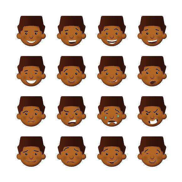 African Man Emoticons Set