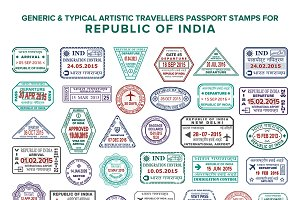 India passport visa stamps set
