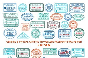 Japan visa passport stamps set