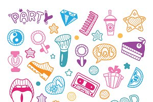 Doodle girly party clipart elements