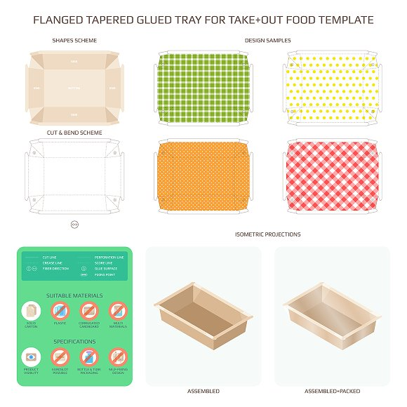 Flanged Tapered Tray For Takeout