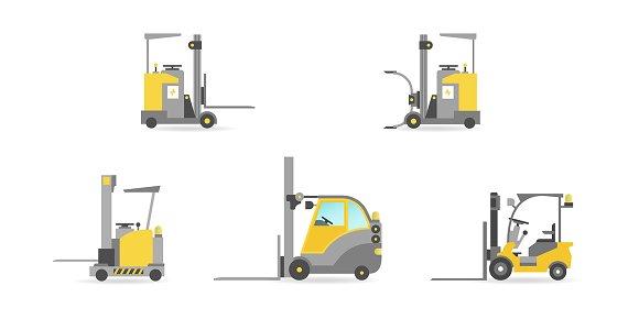 Vector Warehouse Cars Set Flat Style