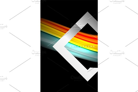 Rainbow Fluid Colors Wave And Metallic Geometric Shape