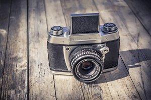 Vintage Camera on Wood