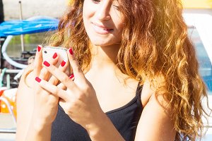 young woman with her cellphone