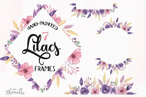 Lilacs Frames Watercolor Florals Set