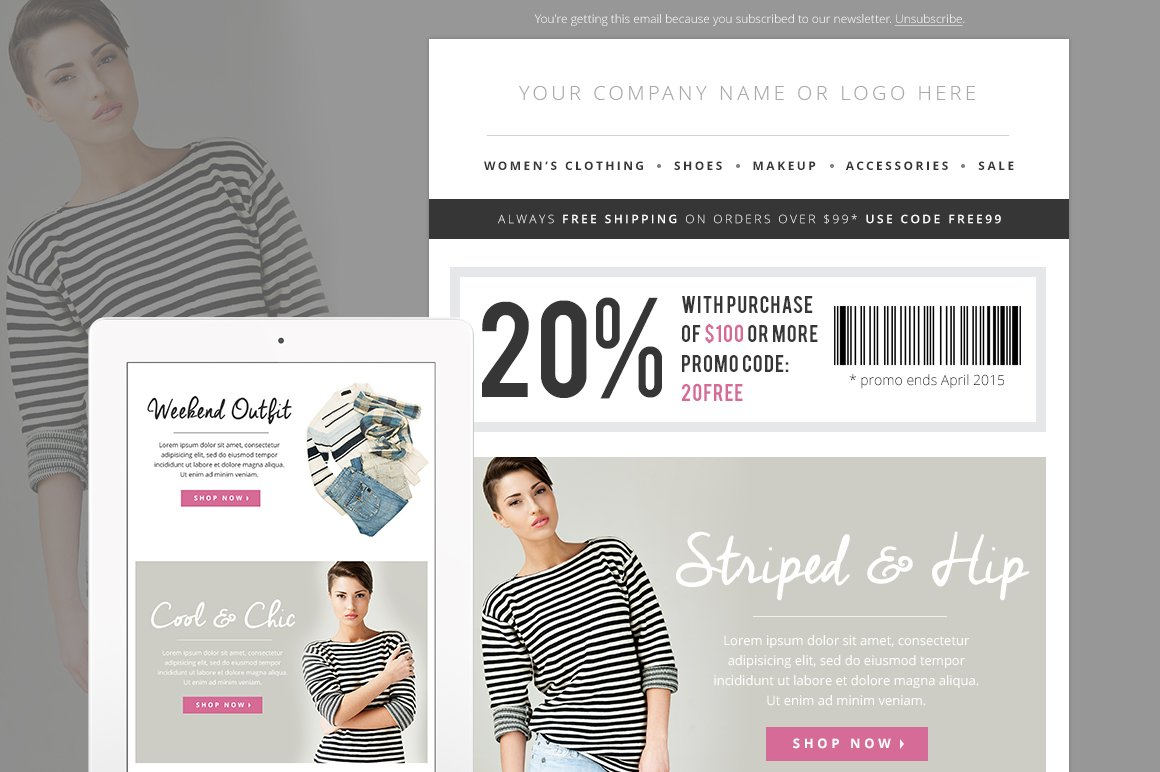 Sales fashion e mail template psd email templates for E blast templates free