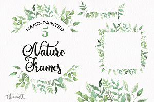 Nature Frames Leaves Watercolor Set
