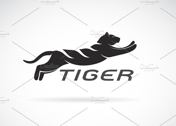 Vector Of Black Tiger Design Animal