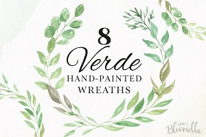 Leaves Wreath Clipart Watercolor Set