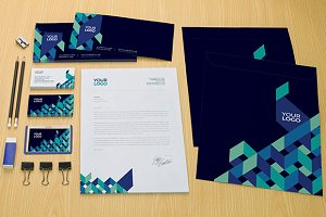 Blue Geometric Pattern Stationery
