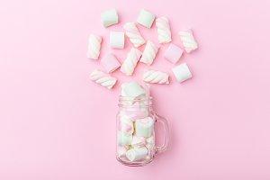Marshmallows on tender pink