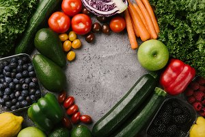 Different tasty vegetables on grey