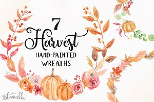 Pumpkin Watercolor Wreath Clipart
