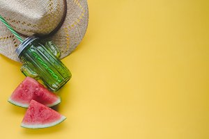 Summer composition with watermelon.