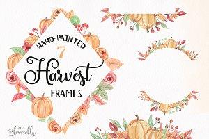 Pumpkin Frames Clipart Watercolor