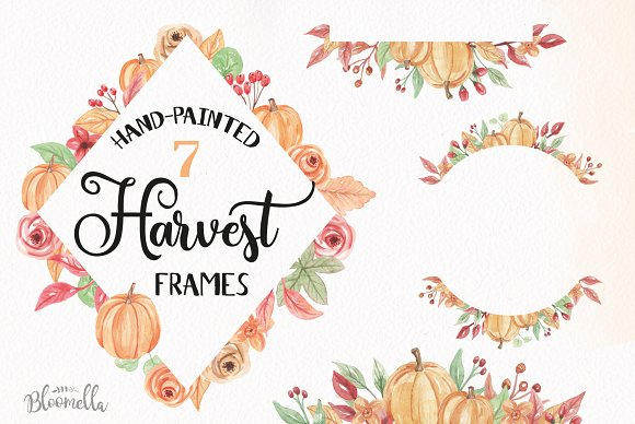 Pumpkin Frames Clipart Watercolor