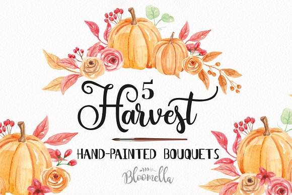 Pumpkin Clipart Bouquets Watercolor