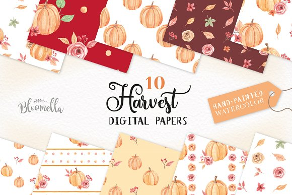 Pumpkin Seamless Patterns Watercolor