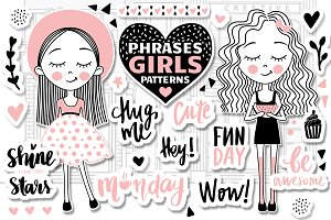 Cute Girls.Positive phrases.Patterns