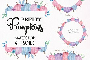 Pastel Pumpkins Watercolor Frames