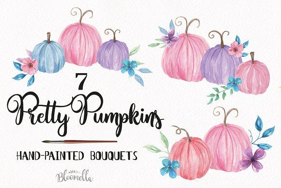 Pumpkins Pastels Bouquets Watercolor