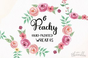 Peachy Watercolour Rose Wreaths Pink