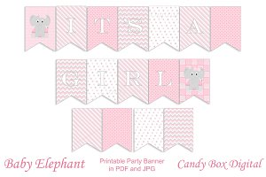 Girl Baby Elephant Party Banner