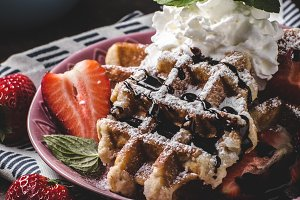 Waffles with berries, strawberries