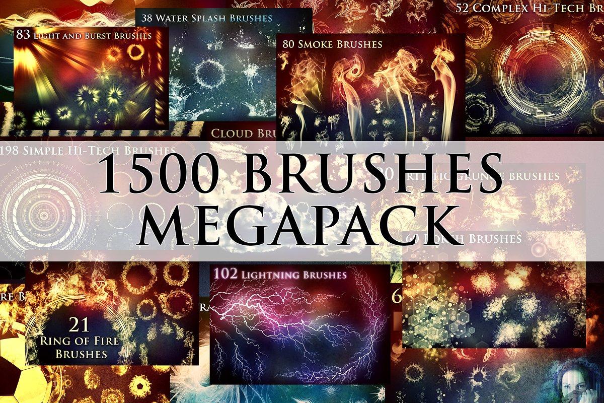 02befc117503 1500+ Brushes Megapack ~ Photoshop Add-Ons ~ Creative Market