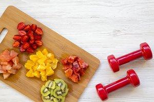 Chopped colorful raw fruits
