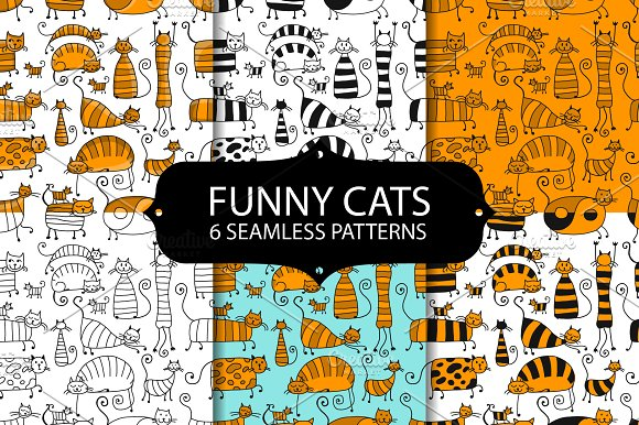 Seamless Patterns With Funny Cats