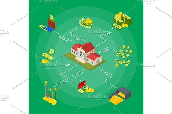 Money Concept Isometric View Vector